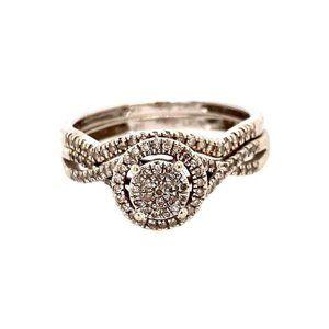 10k Pave Diamond Engagement Ring Set